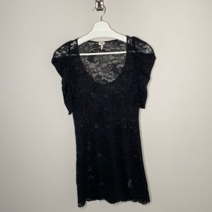 Aritzia Wilfred Black Lace Dress w Ruched Sleeves
